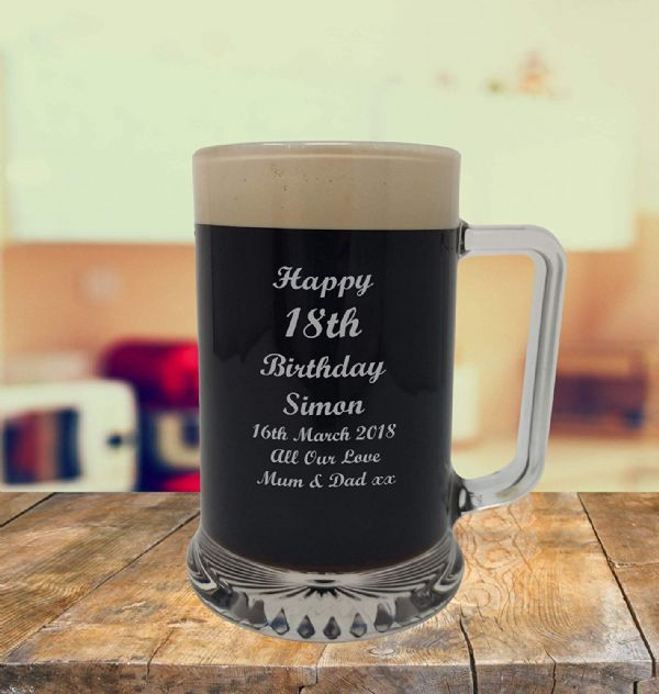 Glass Tankard 18th Birthday, Engraved